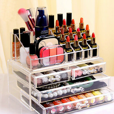 4 Drawer Display Tray Storage Vanity Acrylic Cosmetic Make Up Organiser Clear