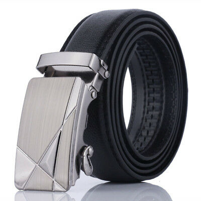 Men Leather Fashion Automatic Belt Buckle Belts Waist Strap Mens Waistband New