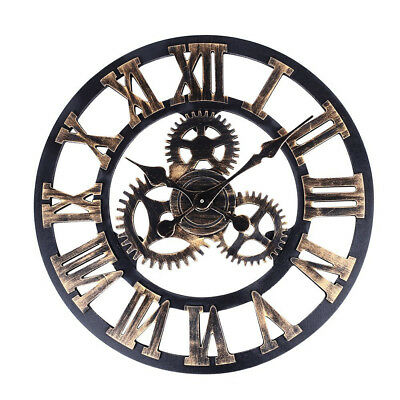 60cm Retro Clock For Garden Outdoor Large Black Roman Numeral Wall Clock