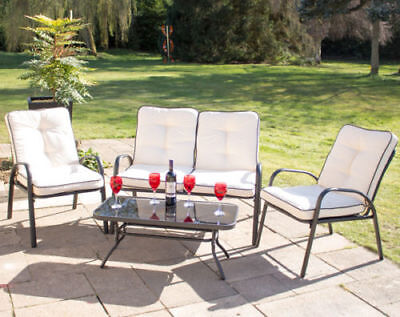 Hadleigh Armchairs & Coffee Table Metal Garden Furniture Set Hectare NO BENCH