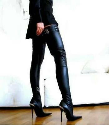Womens Pointed Toe Stiletto Leather Thigh High Boots High Heel Shoes Warm Luxury