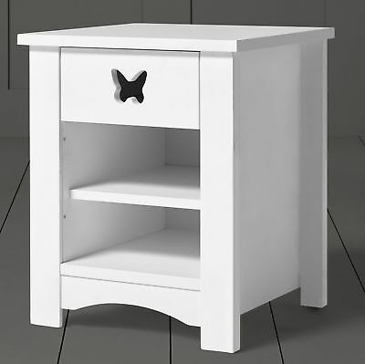 Tesco Butterfly Cut-Out Solid Pine 1-Drawer 2-Shelf Bedside Table - White A