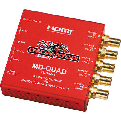 DECIMATOR MD-QUAD 3G/HD/SD-SDI Quad Split Multi-Viewer with SD/HD/3G-SDI & HDMI
