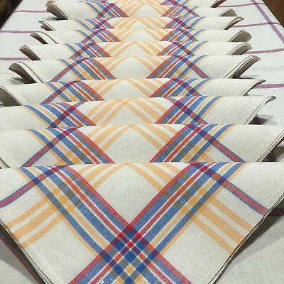 Vosges Area French Plaid Linen Tablecloth with Match Set of 12 Napkins NOS TS7