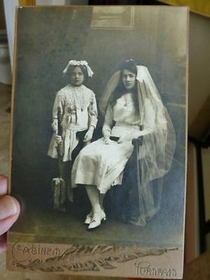Antique Cabinet Photo c1910 Edwardian Communion Girls in White w Veil