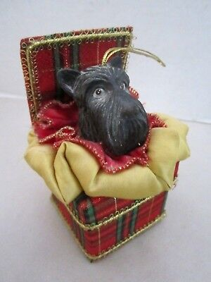 "Vintage scottish terrier dog xmas ornament  & red plaid gift box. 5"" tall."