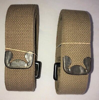 """Original WWII US Army Khaki General Purpose 55"""" x 11/2"""" Straps with Clips"""