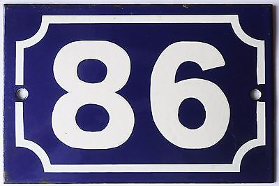 Old blue French house number 86 door gate plate plaque enamel metal sign steel