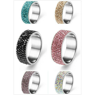 Fashion Women Men Stainless Steel Crystal CZ Multi-color Band Rings Jewelry Gift