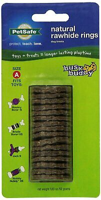 PetSafe Busy Buddy RAWHIDE GNAWHIDE RINGS Dog Toy Treat Refills Small