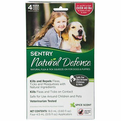 Sentry NATURAL DEFENSE Against Flea Tick Squeeze On Dogs Puppies OVER 40 lb