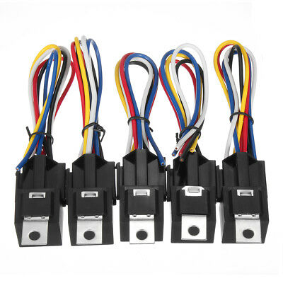 5Pcs DC 12V Car SPDT Automotive Relay 5 Pin 5 Wires w/Harness Socket 30/40 Amp