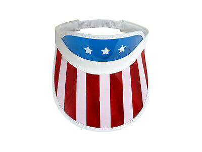 82d1444b831 Retro Patriotic USA american Flag Visor Hat Tennis Beach Plastic Clear Sun  Hat