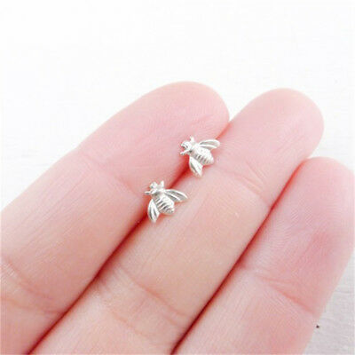 Tiny Honey Bee Bumblebee Nature Earrings Studs Silver/Gold/Rose Gold D