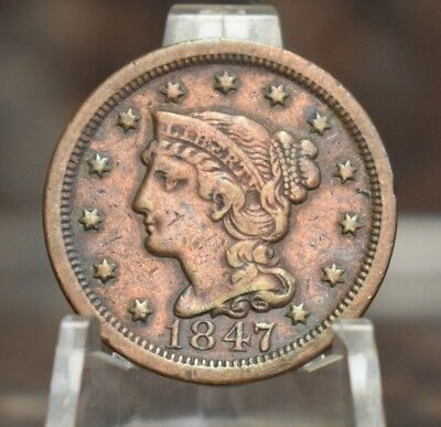 1847 Braided Hair Large Cent Very Fine Circulated 1847-P VF 1C Old US Type Coin