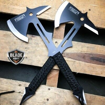 2 PC Full Tang Survival Tomahawk Throwing Axe Hatchet Tactical Hunting Knife set