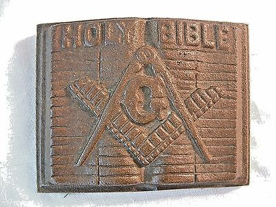 Vtg Cast Metal Masons Freemason Square Compass Holy Bible Desktop Paper Weight