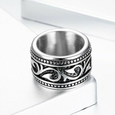 Mens Silver 316L Stainless Steel Celtic Totem Motorcycle Biker Ring Band #7-15