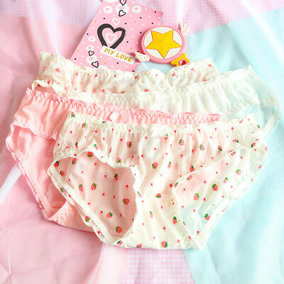 Kawaii Japanese Mori Girl Panties Mesh Cotton Cute Low Waist Funny Underwear