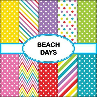 BEACH DAYS SCRAPBOOK PAPER - 10 x A4 pages
