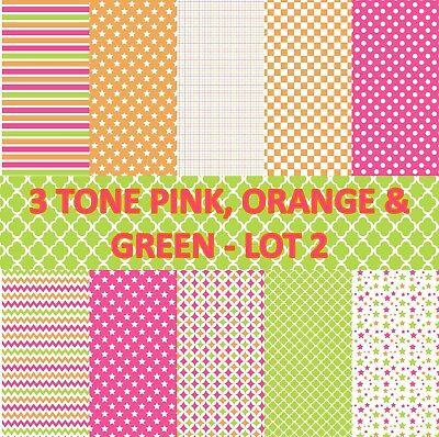 3 TONE PINK, ORANGE & GREEN SCRAPBOOK PAPER - LOT 2 - 10 x A4 pages