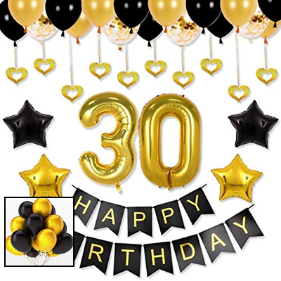 30th Birthday Decorations Party Supplies - Balloons Backdrop, Happy Birthday Ban