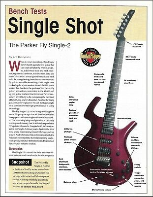 The Parker Fly Single-2 bench test three-page guitar review article with specs