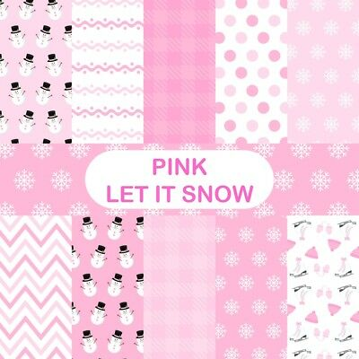 PINK LET IT SNOW CHRISTMAS SCRAPBOOK PAPER - 10 x A4 pages