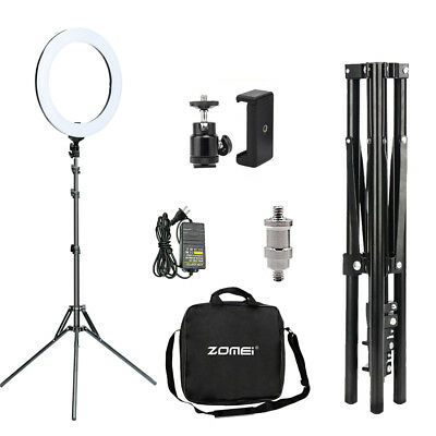 """USA 18"""" Dimmable 5500K LED SMD Ring Light Stand Kit F Makeup Phone Camera Selfie"""