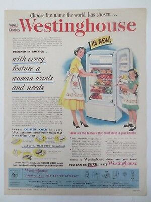 Vintage Australian advertising 1953 ad WESTINGHOUSE REFRIGERATOR fridge art