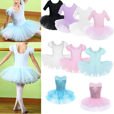 Girls Kids Ballet Tutu Dress Leotard Gymnastics Ballerina Swan Costume Dancewear