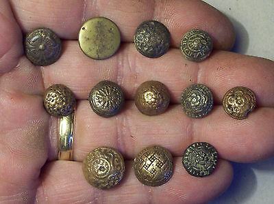 Lot of 12 Very Nice Bronze Buttons Dating From The 1600's Detecting Finds