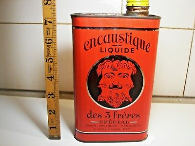 Rare Ad Litho Furnitures Wax Tin Can 3 FRERES 1930 Brothers Brüder Blechdose