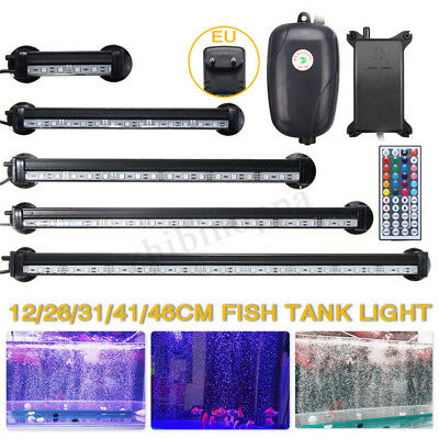LED Submersible Aquarium Light Fish Tank Lighting Lamp+Oxygen Air Pump 12-46CM