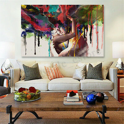Couple Canvas Painting Print Art Abstract Picture Home Room Wall Decor Framed