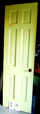 "Vtg 6 Panel Solid Wood Antique Door Old Hardware Knob 24"" x 80"" Mid Century Home"