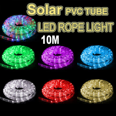 Solar 10M LED Rope Lights PVC Hard Tube Party Christmas Light Wedding LED Xmas