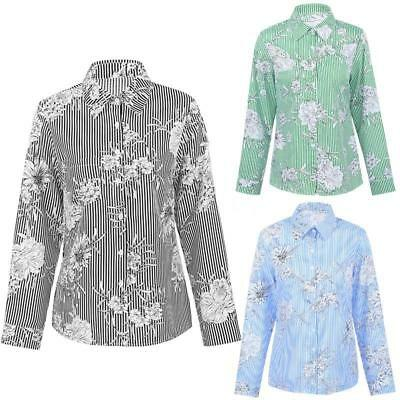 Women Turn Down Collar Floral Long Sleeve Blouse Ladies Office Tops Shirts Y2C1