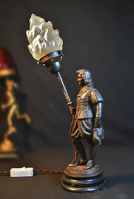 Vintage lamp antique 1940s bronze Knight French Opaline flame torch shade
