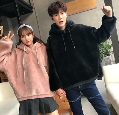 Young Couple Winter Hooded Thicken Fur Hoodies Fashion Womens Mens Warm Coats SZ