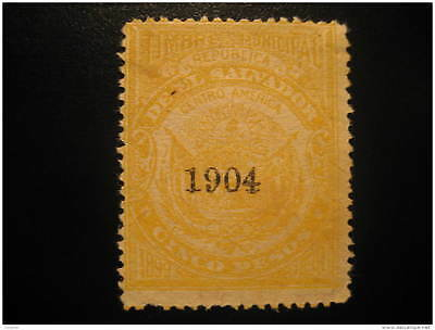 1904 Bell Municipal 5 Pesos Revenue Fiscal Tax Postage Due Official BRAN