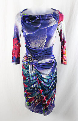 Roberto Cavalli Women's Purple Pink Blue Front Strap Metal Accent Dress 38 4