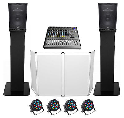 "DJ Package w/(2) JBL JRX215 2000w 15"" Speakers+Mixer+Totem Style Stands+Facade"