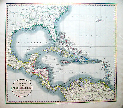 1824 large WEST INDIA ISLES West Indies Florida Cuba Bahamas Texas Cenis J. CARY