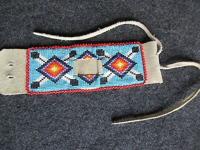 Beaded Leather Watch Band, Native American  Beaded Watch Band,   Day-02540