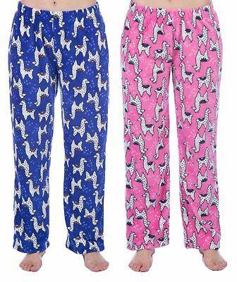 Childrens / Girls Soft Fleece Llama Lounge Pants / Pyjama Bottoms