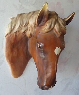 Vintage Norcrest Japan Ceramic Brown Chestnut Horse Head Wall Plaque