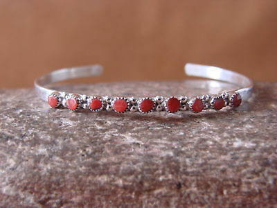 Zuni Indian Jewelry Petite Sterling Silver Coral Row Bracelet - Mary Leekity