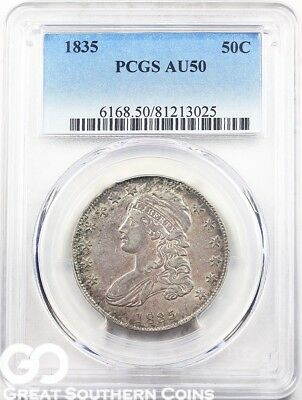 1835 PCGS Capped Bust Half Dollar PCGS AU 50 ** Early Date Silver Half, Free S/H