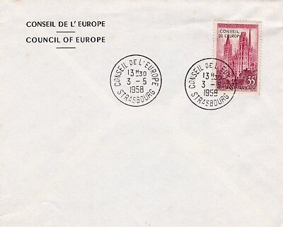 Lettre Conseil de l'Europe Strasbourg Bas Rhin Alsace Counsil of Europe 1958